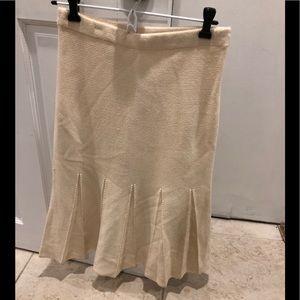 St. John knitted half pleated skirt cream size S